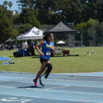 Ella racing on the track during the Angel City Games