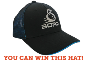 You can win this hate: picture of black and blue baseball cap with BORP logo embroidered on front