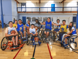 Group picture of the youth at basketball camp