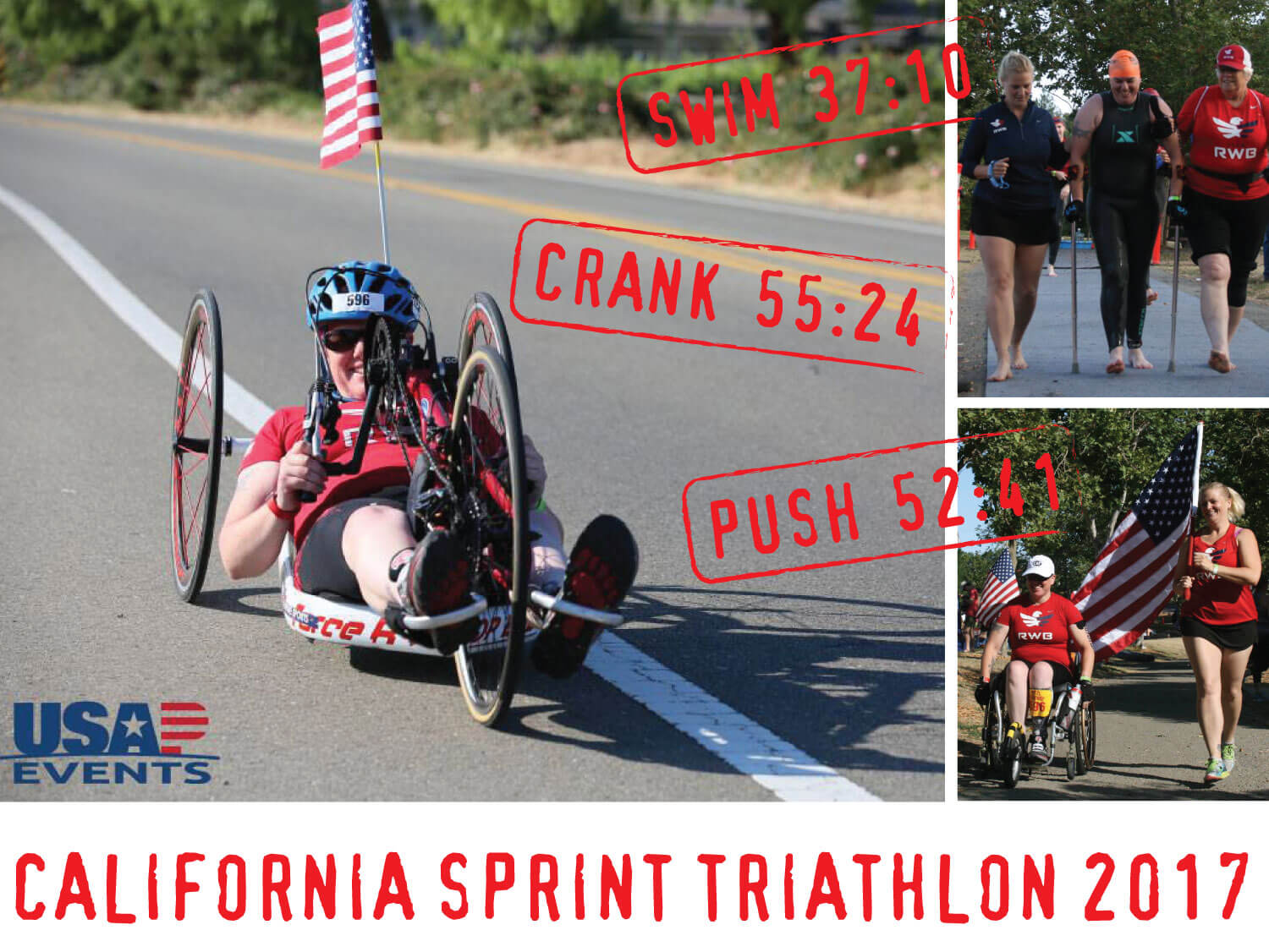 An array of three photos from the California Sprint Triathlon: cycling, swimming and running