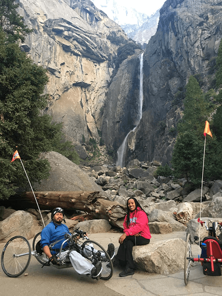 Jorge and Abeba take a break at Yosemite Falls.