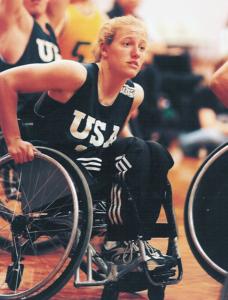 Jennifer Howitt playing basketball in 2001 on Team USA