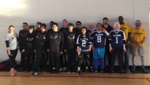 Group picture of CAL/BORP and CSB Goalball players