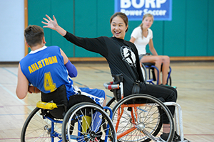 wheelchair basketball at opening day 2017. photo courtesy of Scot Goodman