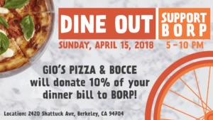 Dine Out | Support BORP at Gio's Pizza & Bocce Sunday April 15, 5-10pm