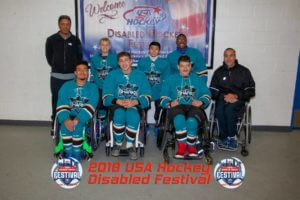BORP youth Sharks Sled Hockey team group photo