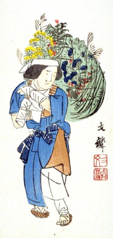 Shiokawa Bunrin_Women Carrying a Basket of Summer Herbs_Color Woodcut_1861-1867