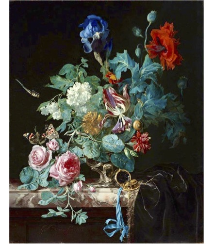 Hidden Stories Tour Artwork - colorful flower bouquet and green leaves placed on a marble table against a black background