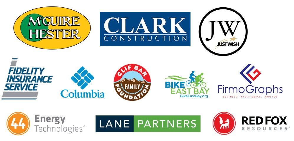 Revolution 2021 Sponsors McGuire Hester, Clark Construction, Just Wish, Fidelity Insurance Service, Columbia, Clif Bar Family Foundation, Bike East Bay, FirmoGraphs, 44 Energy Technologies, Lane Partners, Red Fox Resources.