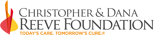 Logo: text that reads Christopher & Dana Reeve Foundation - Today's Care. Tomorrow's Cure.